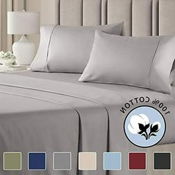 100 percent cotton full sheets light grey