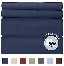 100% Cotton Split King Sheets Navy Blue  Silky Smooth, Cooli
