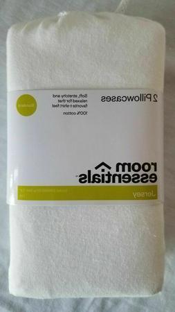 2 New Jersey Pillowcase Set WHITE Standard 100% Cotton - Roo