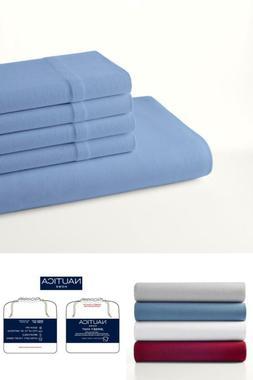 4-Piece Jersey Knit Solid Blue Queen Sheet Set