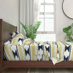 Aztec Co Jersey Southwest Modern 100% Cotton Sateen Sheet Se