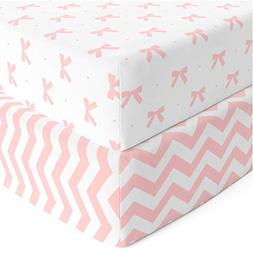 Baby Crib Mattress Sheets Set 2 Pack Fitted For Boys, Girls,