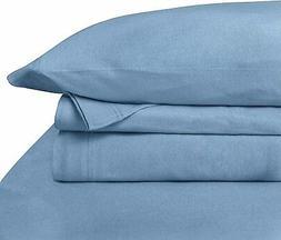 Baltic Linen Jersey Cotton Sheet Set Twin Blue 3-Piece Set