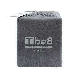Bambury BedT 100% Cotton Jersey Charcoal Marle Sheet Set