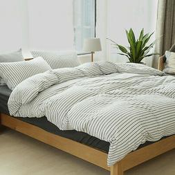 Black Striped Cotton Jersey Quilt Cover Fitted Sheet White D