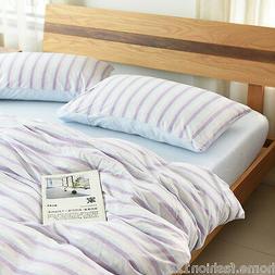 Blue Beige Purple Stripes Print Cotton Jersey Duvet Covers B