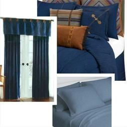 BLUE JEANS ROOM Twin 12pc ~ Denim Comforter Set & Drapes + J