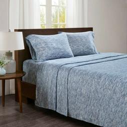 Chic Speckled Blue & White Cotton Jersey Knit Sheet Set - AL