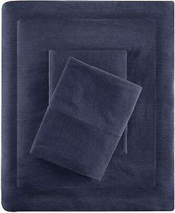 Cotton Blend Jersey Knit Sheet Set Navy New