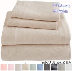 Full Set 4 piece Bed Sheet Set 100% Cotton Jersey Knit T-Shi