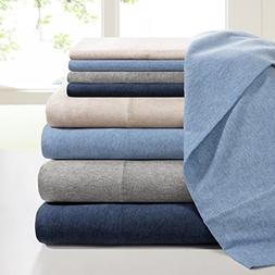 Ink+Ivy II20-710 Cotton Jersey Knit Heathered Sheet Set Quee