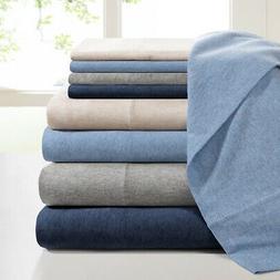 INK+IVY Cotton Jersey Knit All Season Heathered Sheet Set