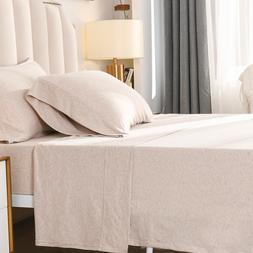 PURE ERA Jersey Knit 4pc Bed Sheet Set 100% T-Shirt Heather