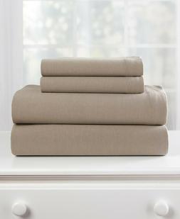 Jersey Knit Bed Sheet  & Pillowcase Set - Stone Queen