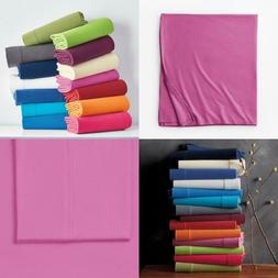 Jersey Knit Berry Solid Cotton Full Flat Sheet