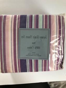 Jersey Knit Sheet Set Twin Divatex Pink Purple Aqua Stripes