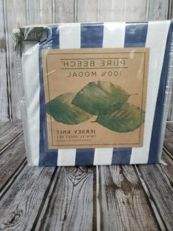 Pure Beech Jersey Knit TWIN/XL Sheet Set Navy White Stripes