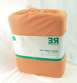Room Essentials Jersey Sheet Set XL Twin Orange & White T Sh