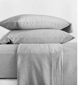 Casaluna Jersey Solid Sheet Set Full Light Gray - NEW-OOP
