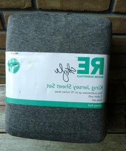 King Jersey Knit Sheet Set Gray RE Room Essentials Grey T-sh