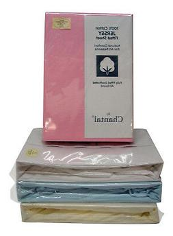 King Size Soft Cotton Jersey Fitted Sheet in Blue Cream Pink