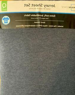 Mainstays Knit Jersey Bedding Sheet Set, Queen, Navy Blue