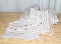 Knit Jersey Bedding Sheet Set-Twin, Grey and Pink Stripes