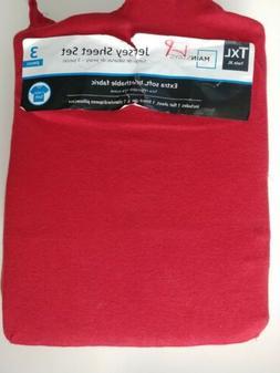 Mainstays Knit Jersey Bedding Sheet Set Twin XL Red NEW T Sh