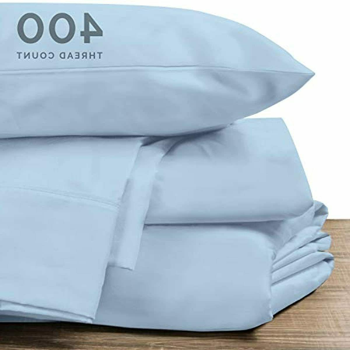 100% Cotton Full Sheets Blue 400 Count Long S