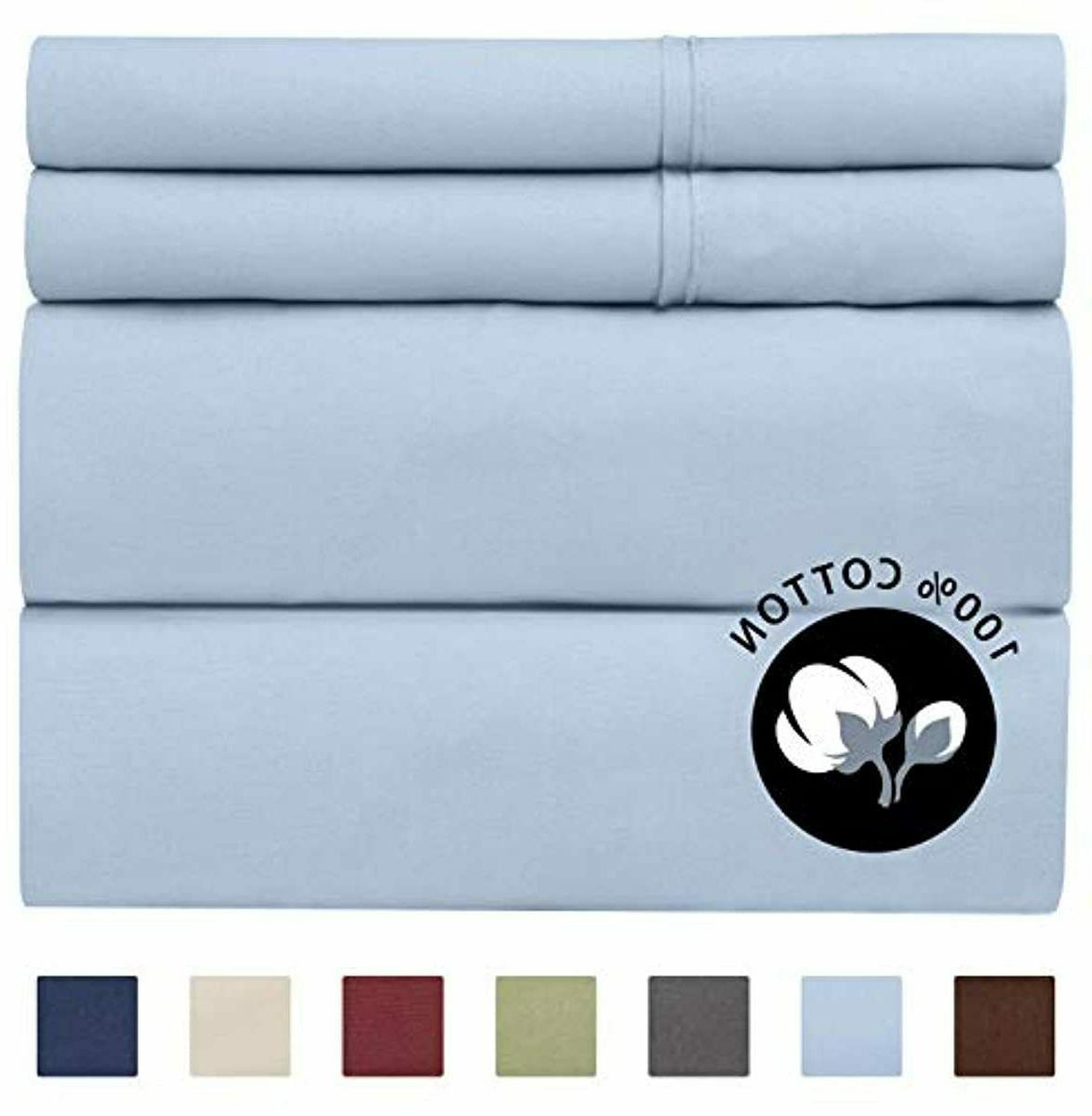 100 percent cotton full sheets blue 4pc