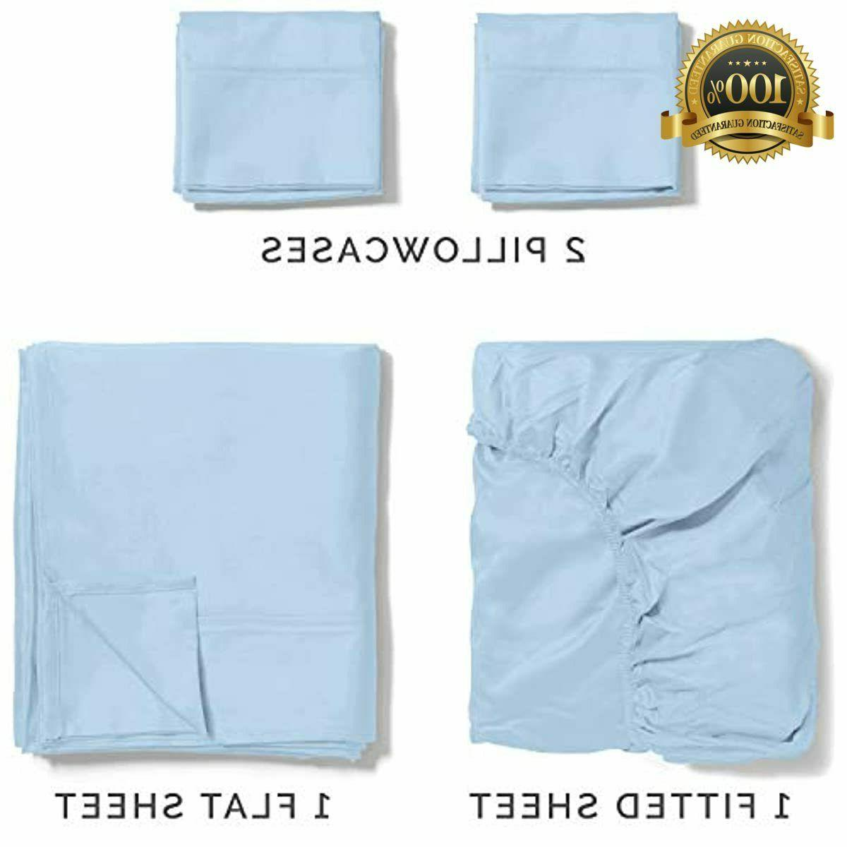 100% twin Size Sheets Blue Silky Cooling L