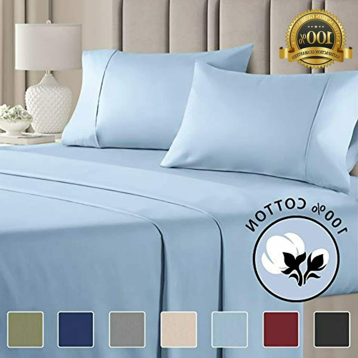 100% Sheets Blue Cooling Thread Count L
