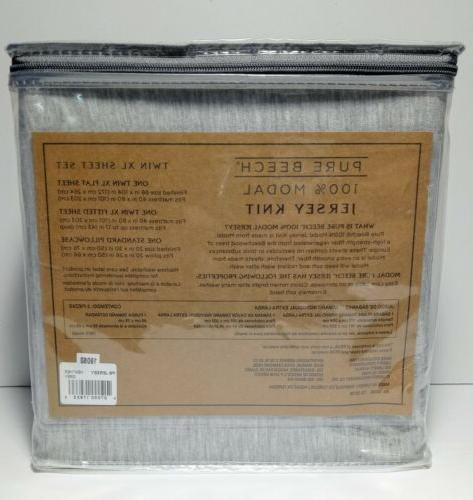 Pure 100% Heather Knit Twin XL Sheet Bed Set