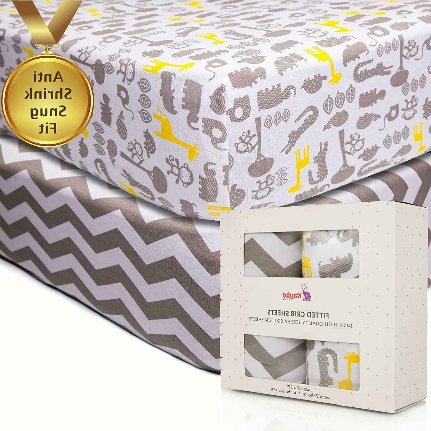 2pk crib fitted sheets anti shrink 100