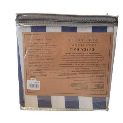 Pure Beech Modal Stripe Twin Sheet Set NEW