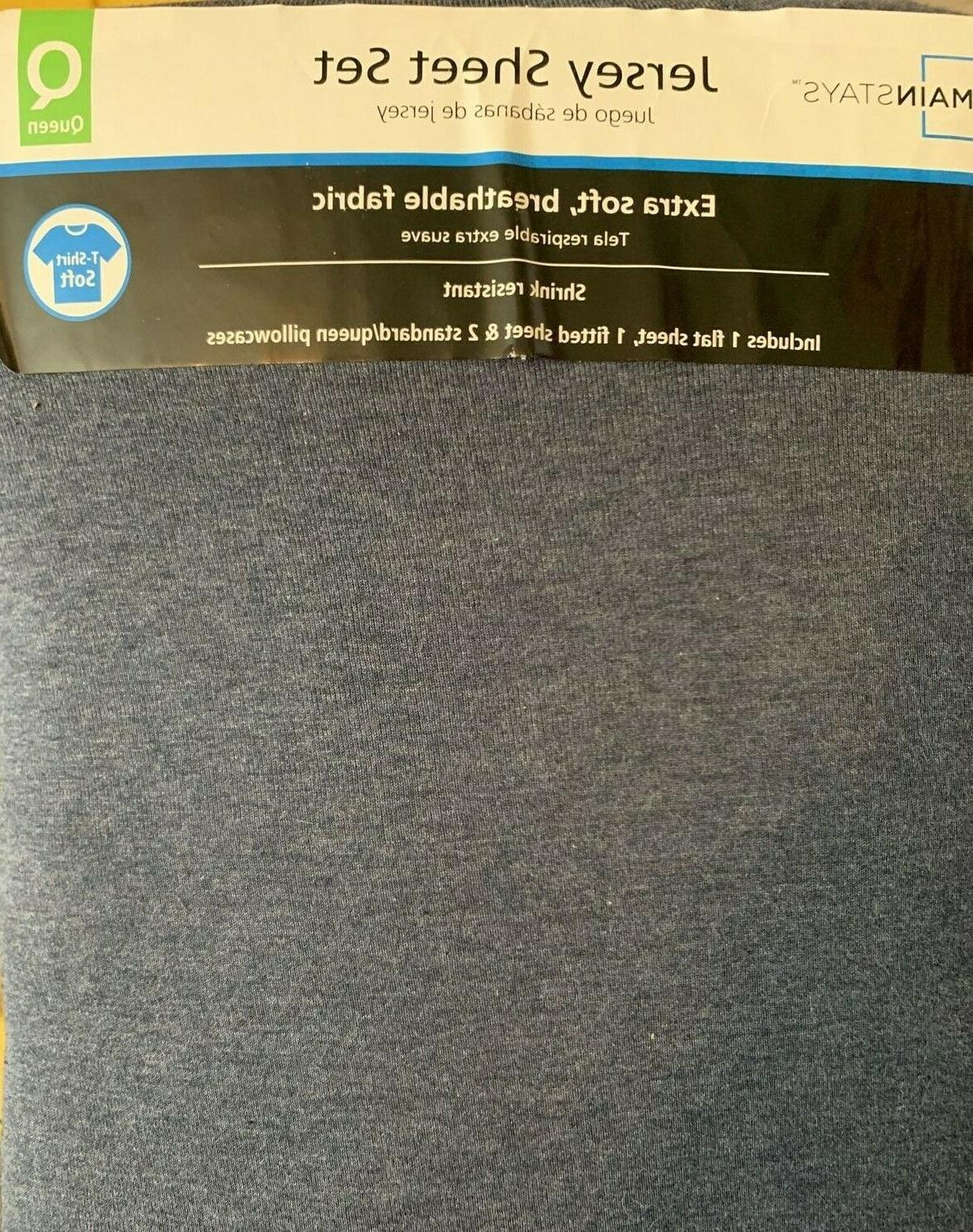knit jersey bedding sheet set queen navy