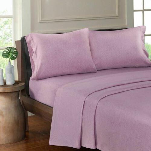 luxury purple heathered cotton jersey knit sheet
