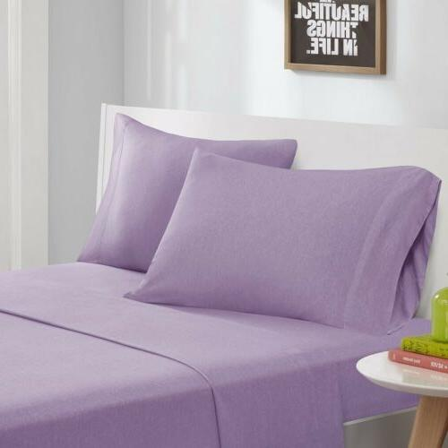 modern purple cotton blend jersey knit sheet