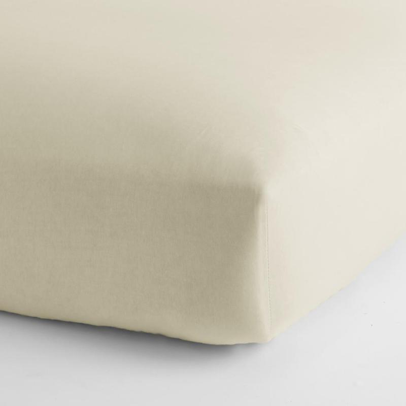 Organic Cotton Jersey Knit Natural Solid Full Fitted Sheet