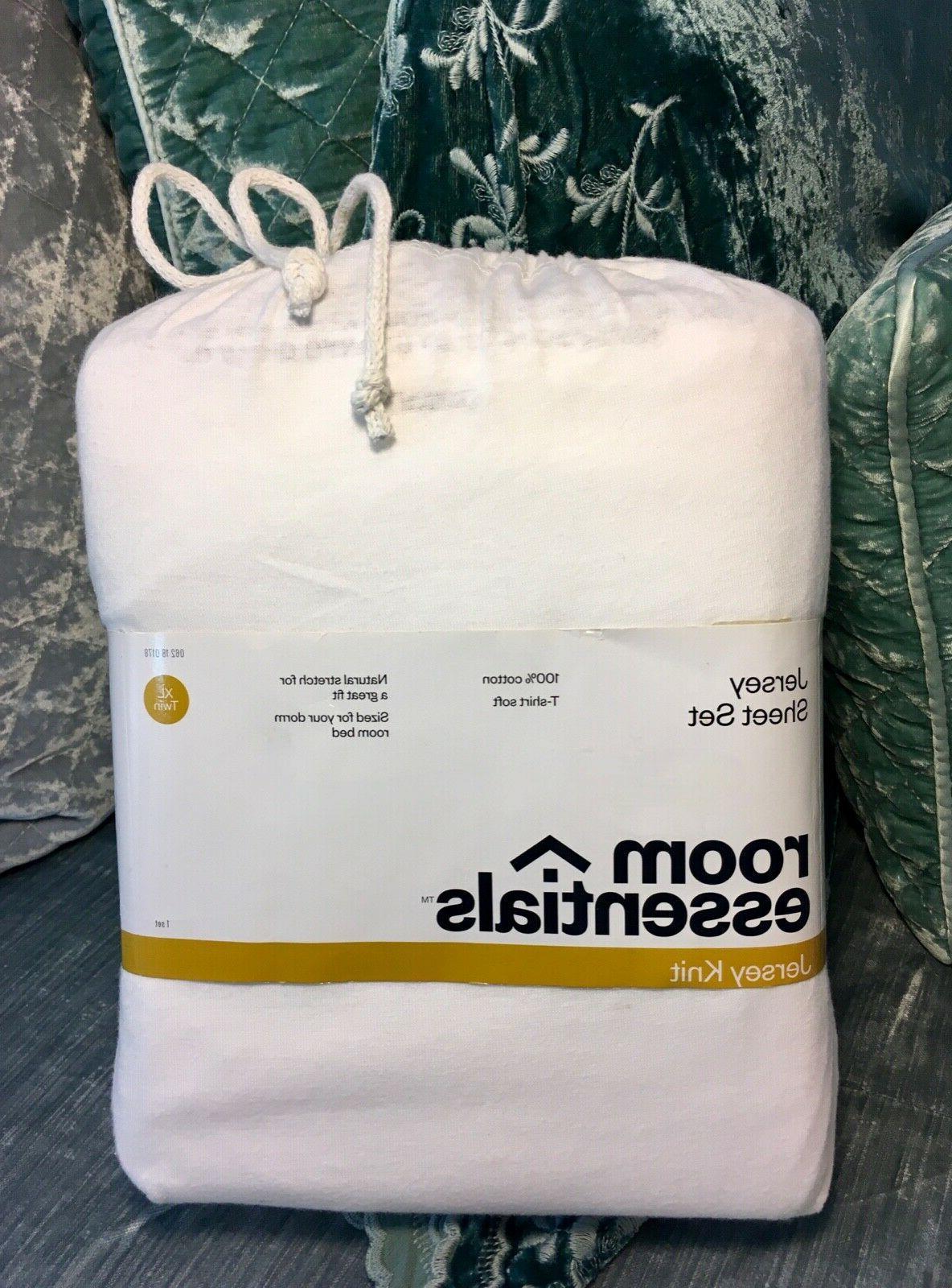 T-Shirt Soft Jersey Knit Sheets Set White Teen Dorm Bed TWIN