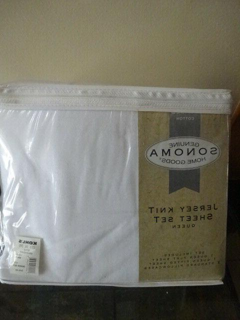 white cotton jersey knit sheet set queen