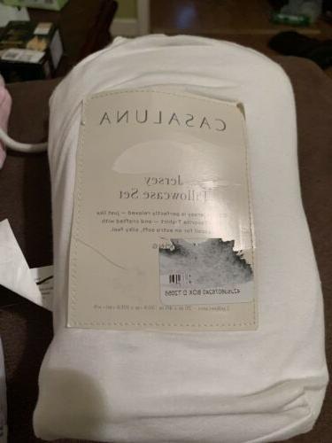 CASALUNA White Cotton Lyocell Blend PILLOWCASE SET- KING