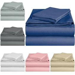 EnvioHome 100% Cotton Knit Jersey Bed Sheet Set Fitted Flat