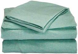 Luxury Aqua Blue/Green Heathered Cotton Jersey Knit Sheet Se