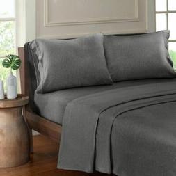 Luxury Charcoal Grey Heathered Cotton Jersey Knit Sheet Set