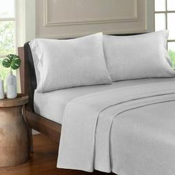Luxury Light Grey Heathered Cotton Jersey Knit Sheet Set - A