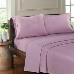 Luxury Purple Heathered Cotton Jersey Knit Sheet Set - ALL S