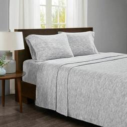 Luxury Speckled Grey & White Cotton Jersey Knit Sheet Set -