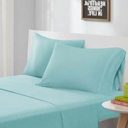 Modern Aqua Blue Cotton Blend Jersey Knit Sheet Set - ALL SI