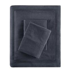 Modern Charcoal Grey Cotton Blend Jersey Knit Sheet Set - AL